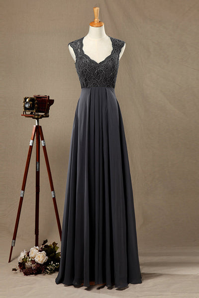Prom 2020 | Black chiffon lace A-line round neck simple long dress  ,evening dresses