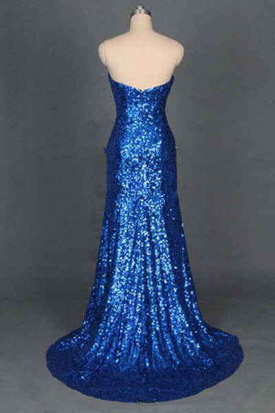 Prom 2020 | Navy blue sequins sweetheart slim-line A-line princess mermaid long evening dresses