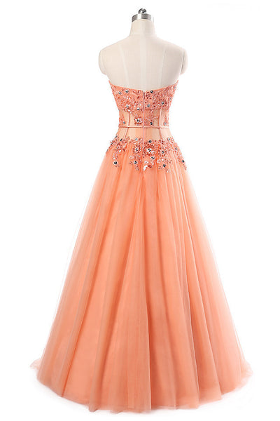 Orange tulle A-line beading formal long dress  ,sweetheart long prom dresses for graduation - prom dresses 2018