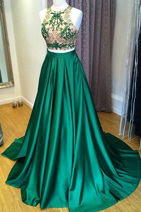 2018 evening gowns - Green satins lace two pieces beading A-line long dresses,formal dresses for graduation