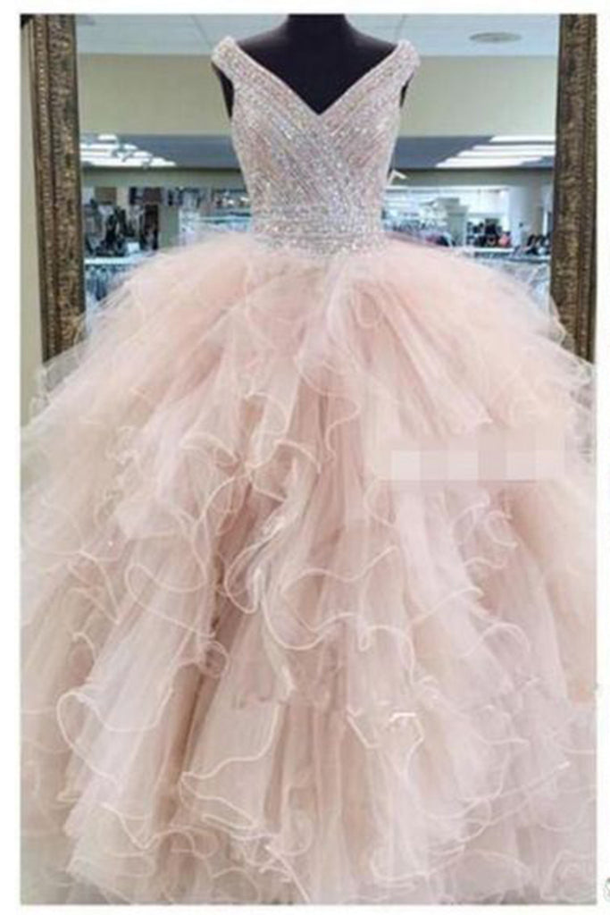 Pink organza V-neck sequins beaded tiered A-line  long dresses,ball gown dresses - occasion dresses by Sweetheartgirls