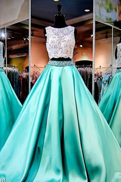 Green satins round neck two pieces lace sequins beaded A-line long prom dresses,  evening dresses - occasion dresses by Sweetheartgirls