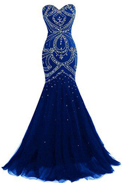 Luxury navy blue tulle sweetheart sequins beaded backless mermaid long prom dresses,  evening dresses - occasion dresses by Sweetheartgirls