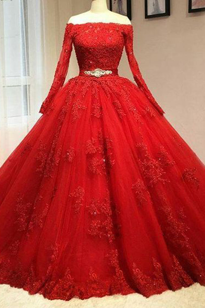 Red organza applique off-shoulder long sleeves long prom dresses,  evening dresses - occasion dresses by Sweetheartgirls