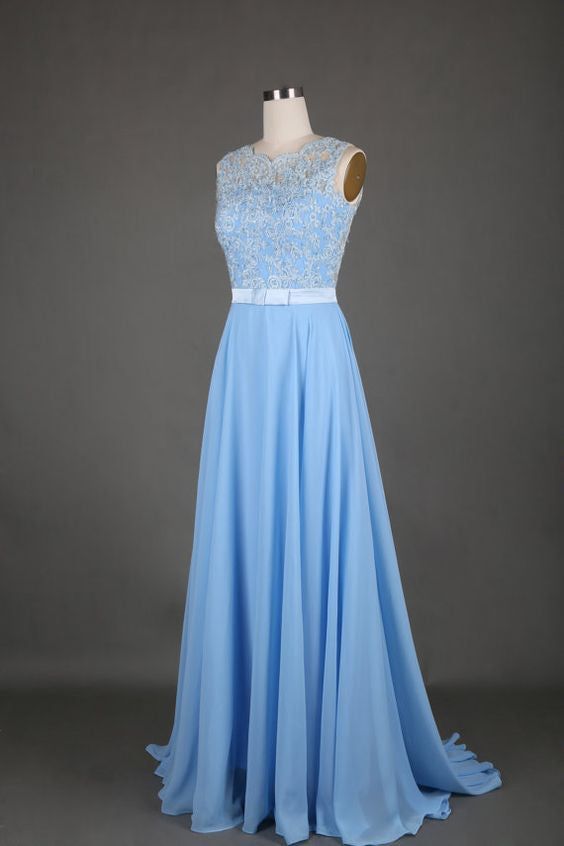 Sweet 16 Dresses | Light blue chiffon lace round neck A-line long prom dresses, evening dresses