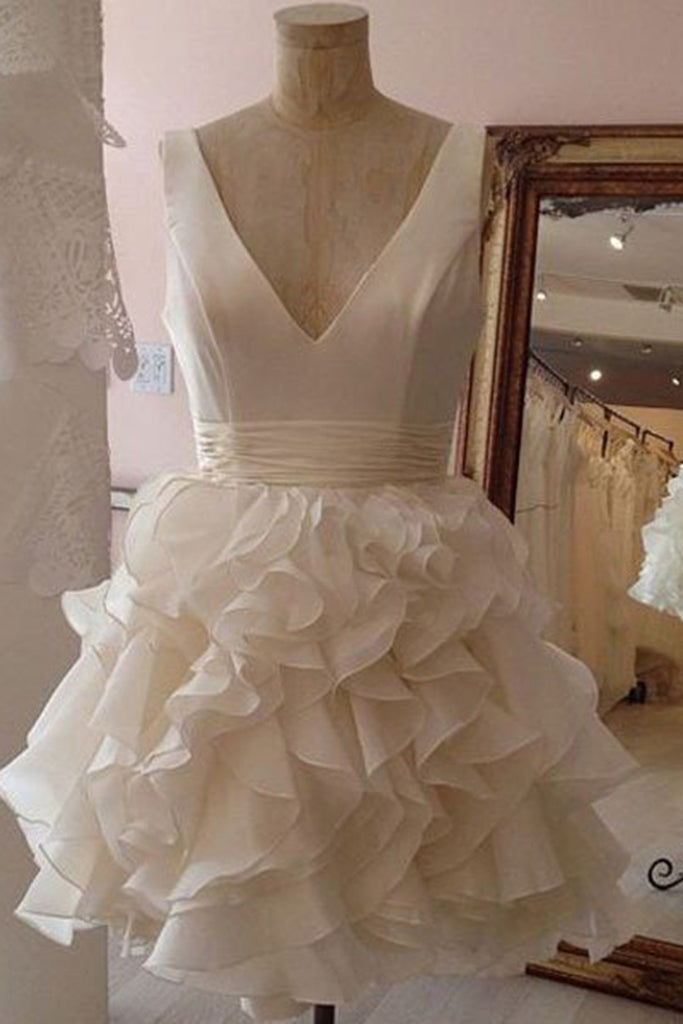 White organza tiered v-neck A-line  simple short prom dresses for teens,party dresses with straps - prom dresses 2018