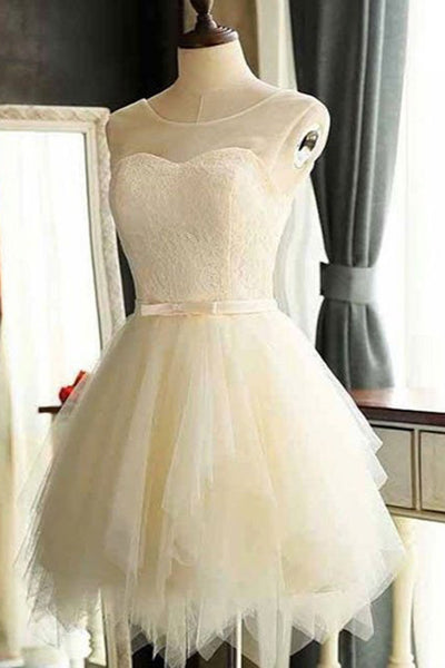 2018 evening gowns - Ivory organza  round-neck  lace A-line  simple short prom dresses for teens,cute formal dress