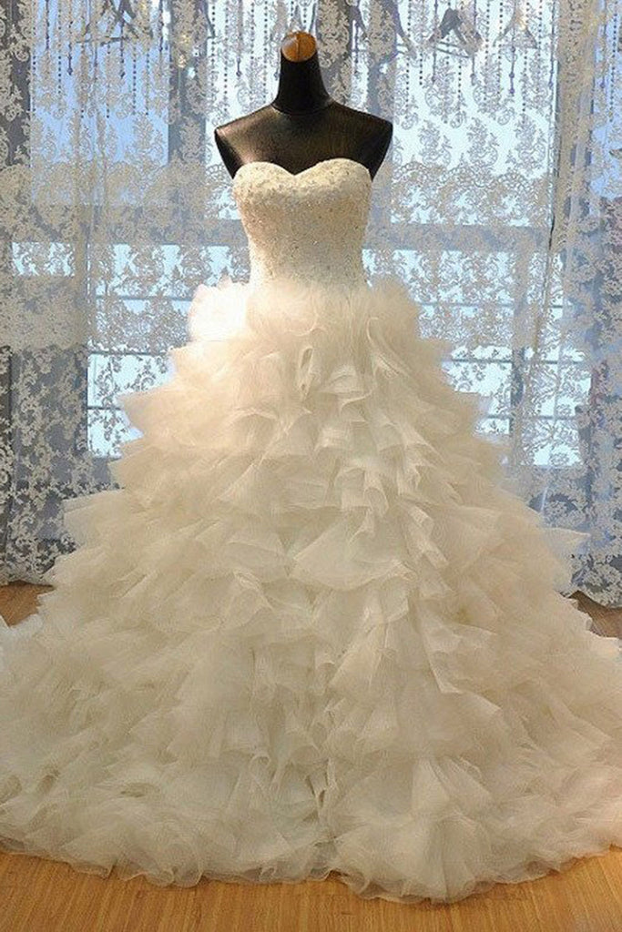 2018 evening gowns - Ivory organza sweetheart sequins A-line floor-length wedding dresses