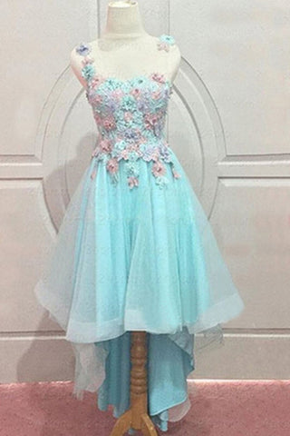 Baby blue cute organza round neck handmade flowers short prom dresses for teens - prom dresses 2018