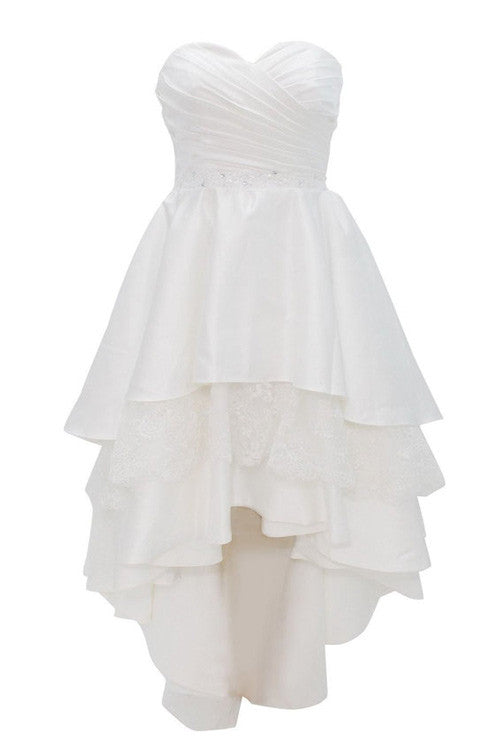 White chiffon sweetheart A-line tiered simple short prom dresses for teens - occasion dresses by Sweetheartgirls