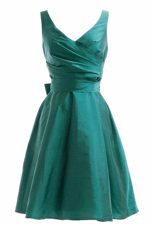 Green satins V-neck sash A-line cheap simple short prom dresses for teens,party dresses - occasion dresses by Sweetheartgirls
