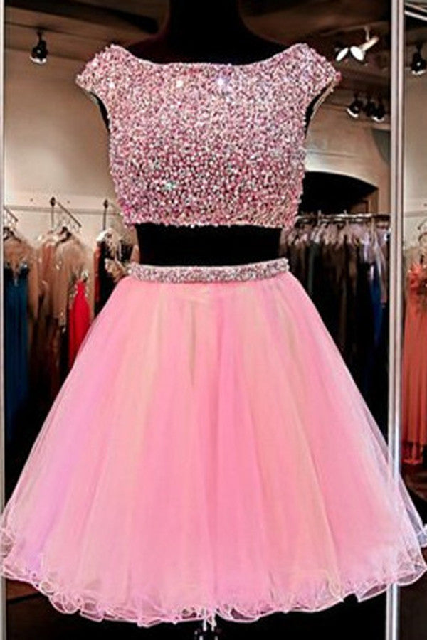 a0f21df64d7 Pink tulle two pieces sequins round neck A-line cute short prom ...