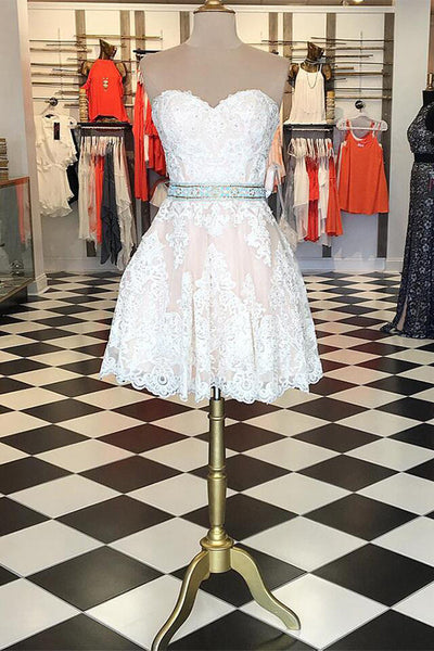 Sweet 16 Dresses | White lace sweetheart A-line sash simple short prom dresses for teens,cute formal dress