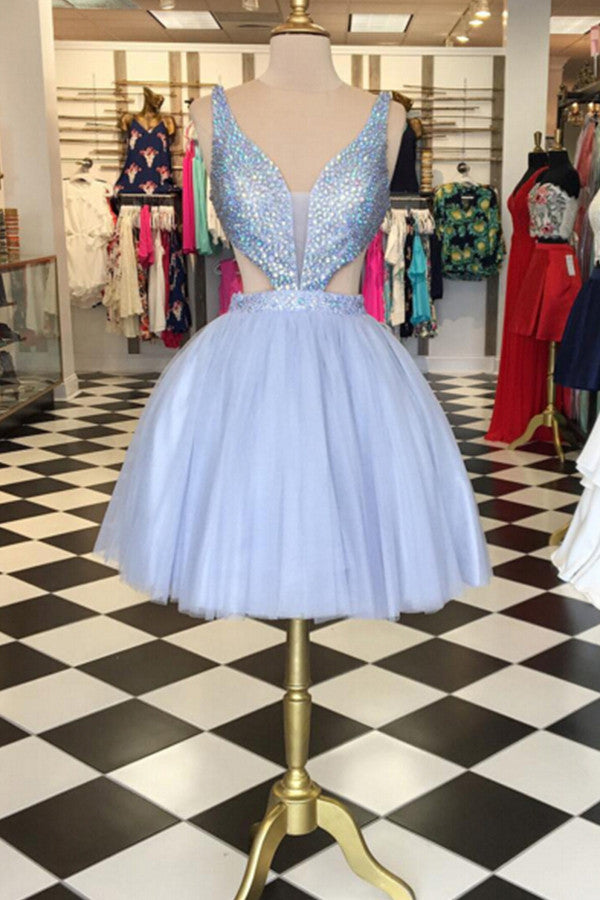 2018 evening gowns - Ice blue tulle  sequins V neck A-line cute short prom dresses ,sexy party dresses