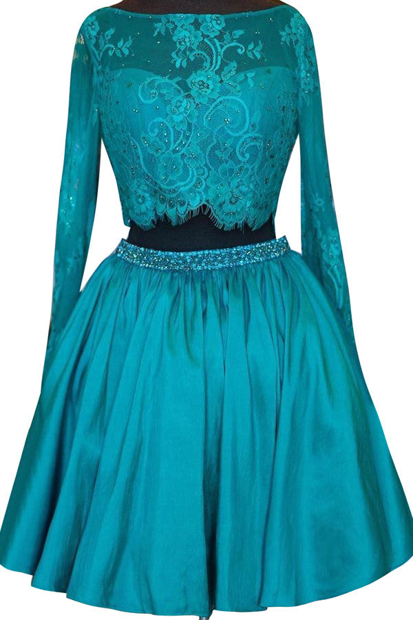 Turquoise satins lace long sleeves two pieces A-line cute short ...
