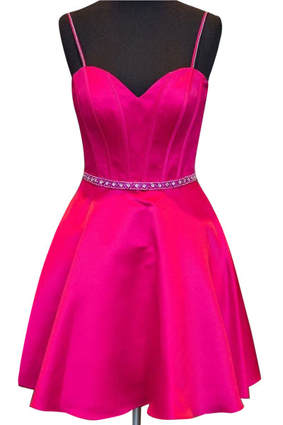 Rosy satins beading A-line cheap simple short prom dresses for teens,party dresses with straps - occasion dresses by Sweetheartgirls