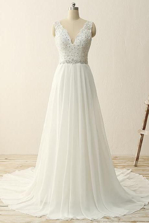 dccfb75a6c White chiffon V-neck A-line sequins beading long prom dress,simple ...