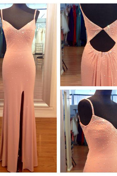 2018 evening gowns - Orange chiffon V-neck sexy slit simple long prom dresses, evening dresses with straps
