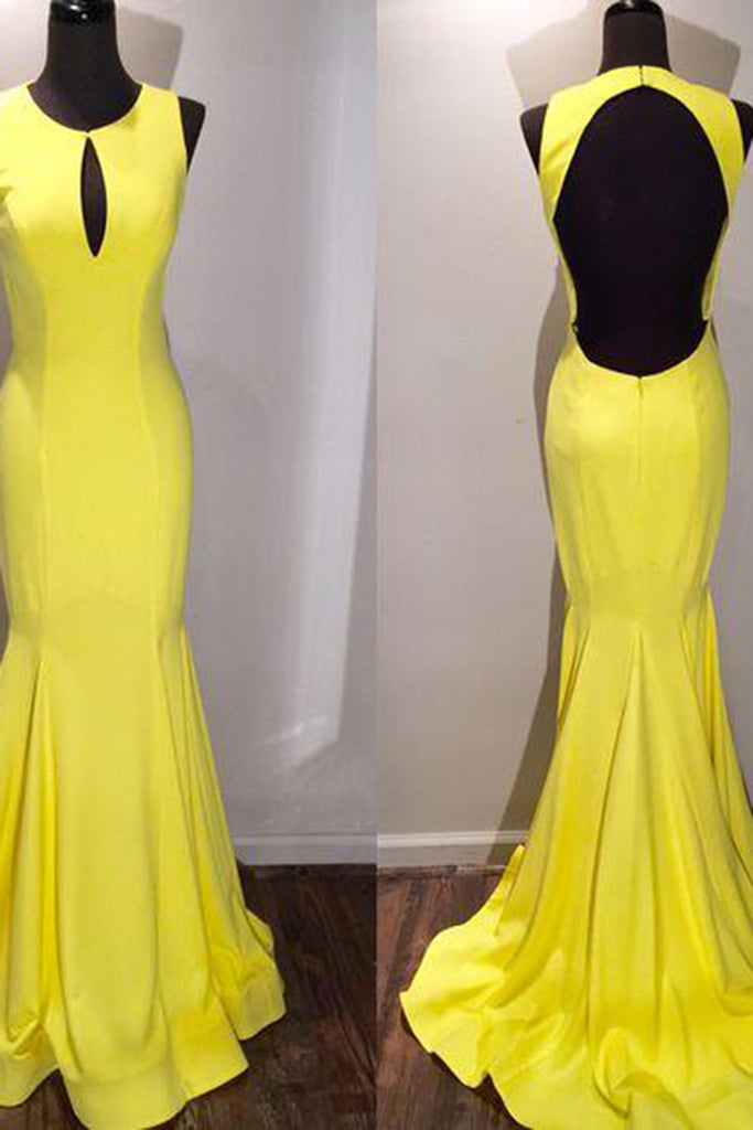 Sweet 16 Dresses | Yellow chiffon round neck backless mermaid floor-length long prom dresses, evening dresses