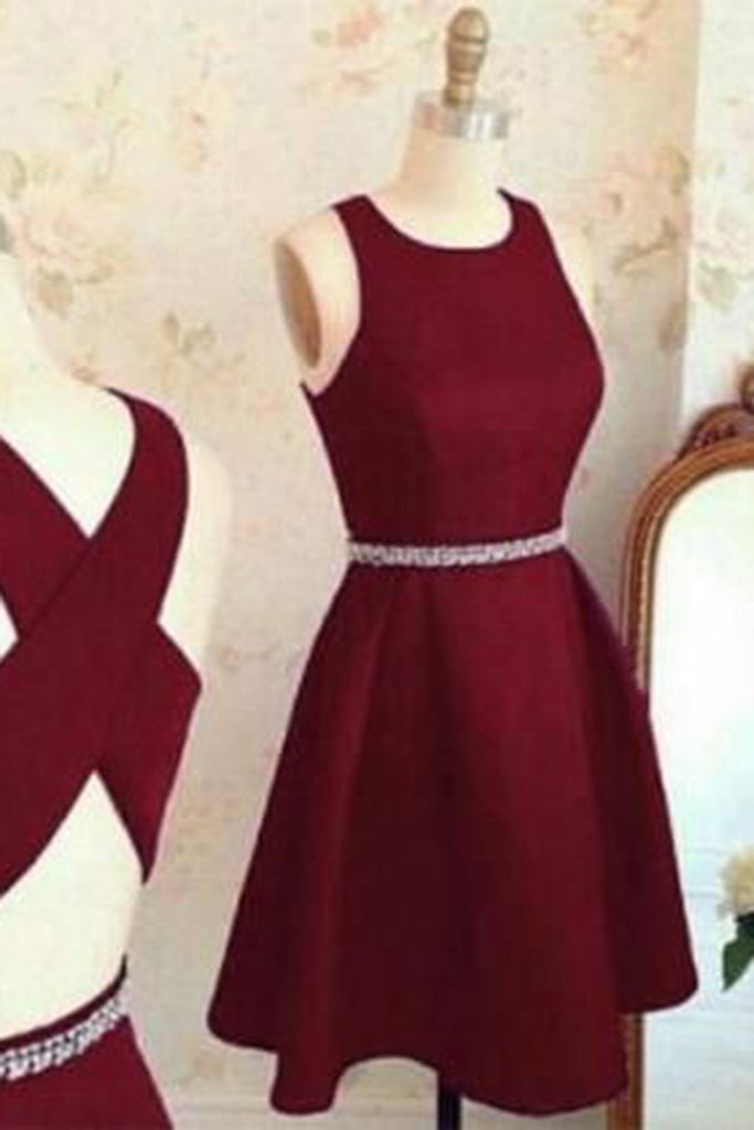 Burgundy chiffon round neck A-line cross back short prom dress ...