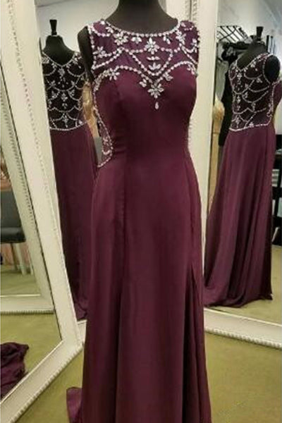 Burgundy chiffon round neck sequins beaded full-length long prom dresses,evening dresses - occasion dresses by Sweetheartgirls