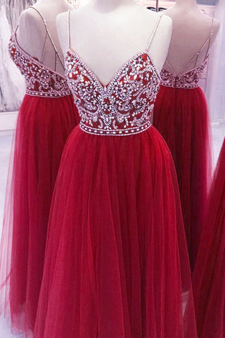 2017 sexy red tulle V-neck beading rhinestone long evening dresses with straps - prom dresses 2018