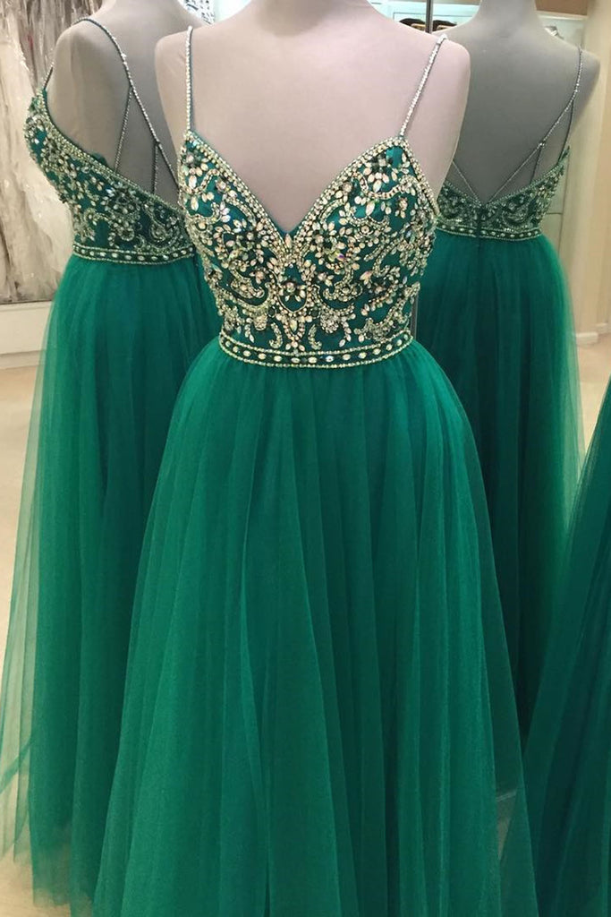 Sweet 16 Dresses | Sexy green tulle V-neck beading rhinestone long evening dresses with straps