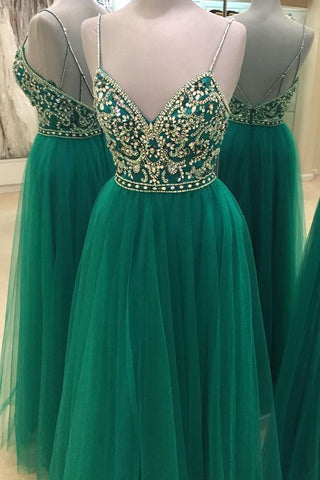 2017 sexy green tulle V-neck beading rhinestone long evening dresses with straps - prom dresses 2018