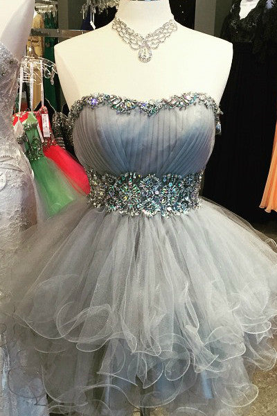 2019 Prom Dresses | Cute gray organza sweetheart beading short A-line mini dresses,party dresses for teens