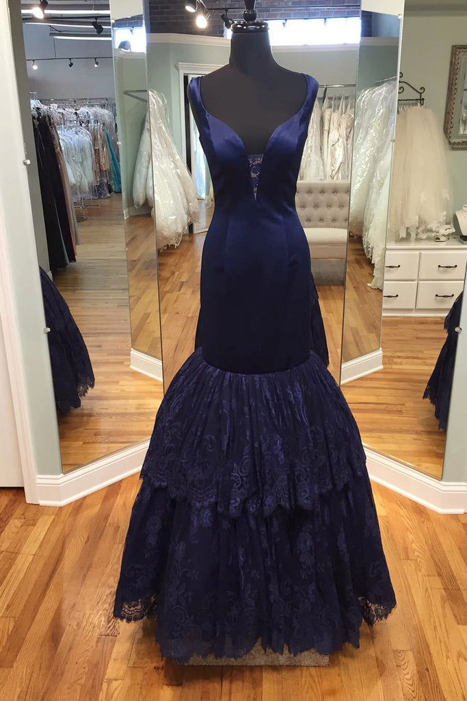 Sweet 16 Dresses | Dark blue satins lace V-neck mermaid long prom dress,formal dresses