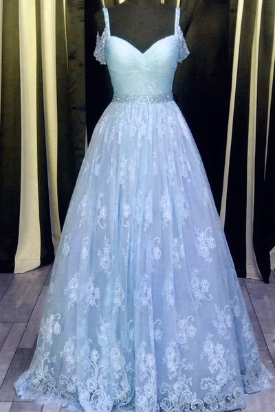 2018 evening gowns - Light blue lace V-neck A-line long prom dress,graduation dresses with straps