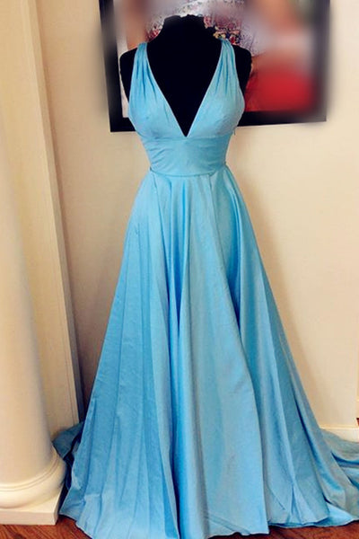 2018 evening gowns - Light blue satins V-neck A-line long prom dresses,evening dresses