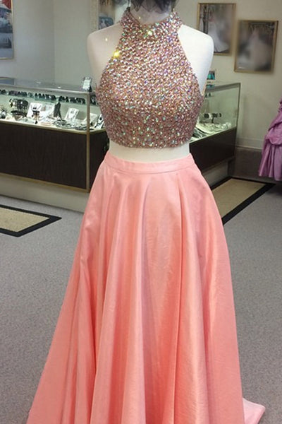 Sweet 16 Dresses | Elegant peach chiffon two pieces sequins halter A-line long prom dress,graduation dresses