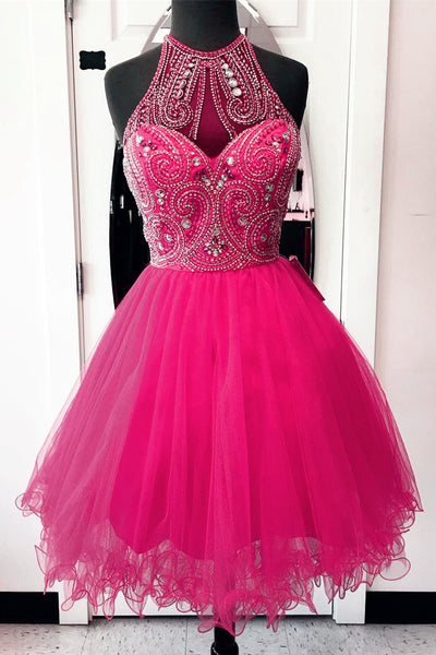 2018 evening gowns - Hot pink organza halter beading see-through short A-line dresses,party dresses for teens