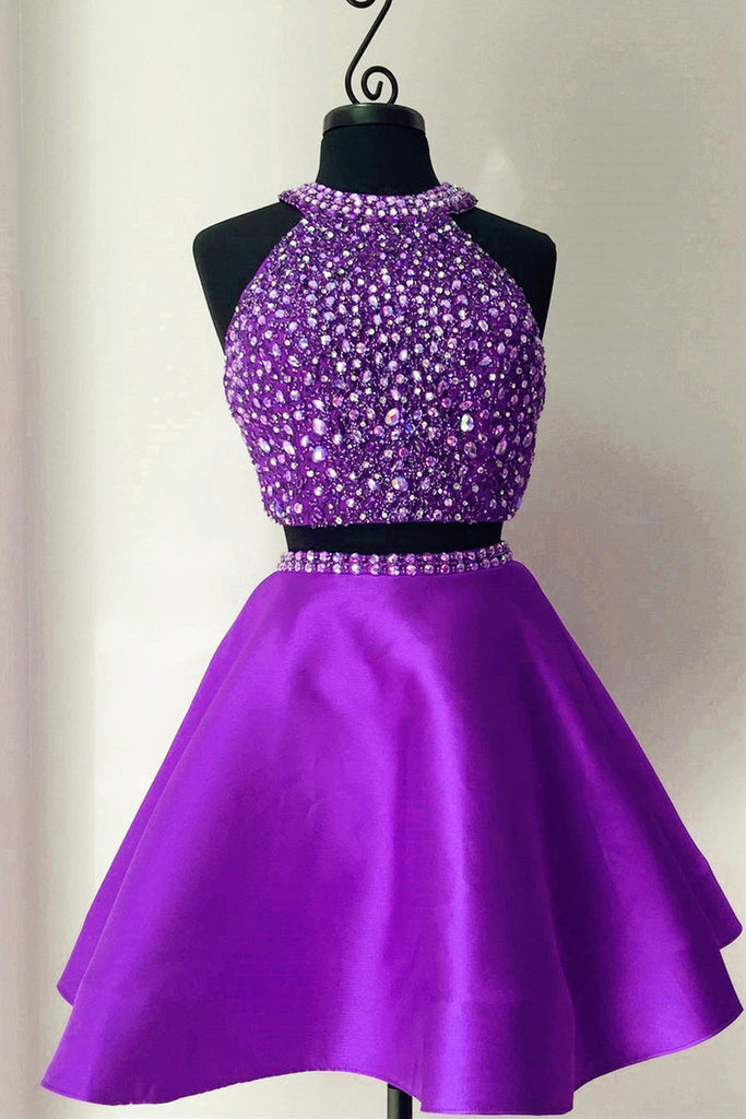 Cute purple satins two pieces halter beading rhinestone A-line short dresses for teens - prom dresses 2018