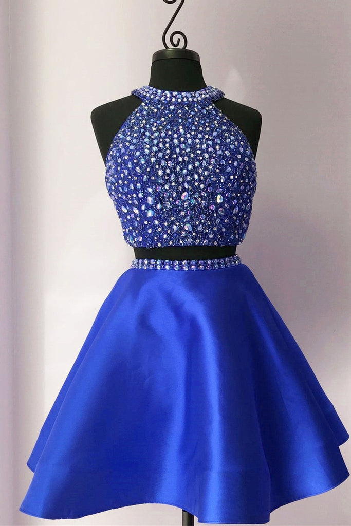 2018 evening gowns - Cute navy blue satins two pieces halter beading rhinestone A-line short dresses for teens