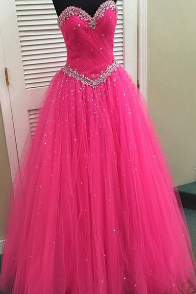 Sweet 16 Dresses | Stunning sweetheart neckline hot pink tulle long beaded prom dress, lace up long evening dress