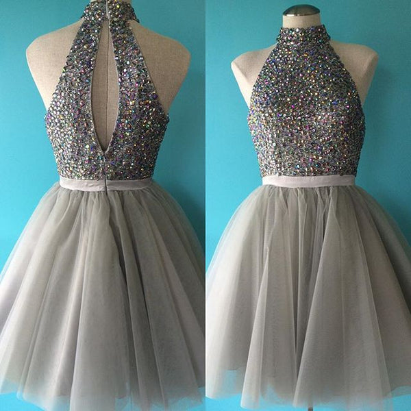 Gray tulle organza halter beading rhinestone A-line short dresses,cute prom dresses - occasion dresses by Sweetheartgirls