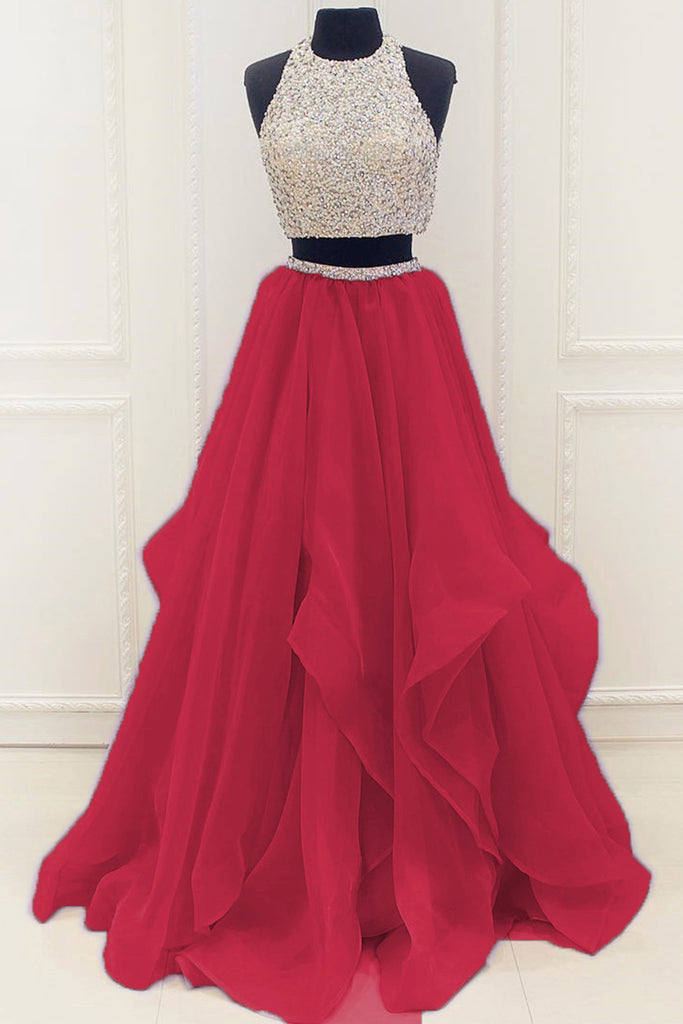 52f093a6fd9 Red organza two pieces sequins A-line long prom dresses