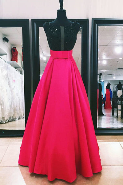 2019 Prom Dresses | Beautiful rosy chiffon sequins see-through A-line round neck backless long prom dresses
