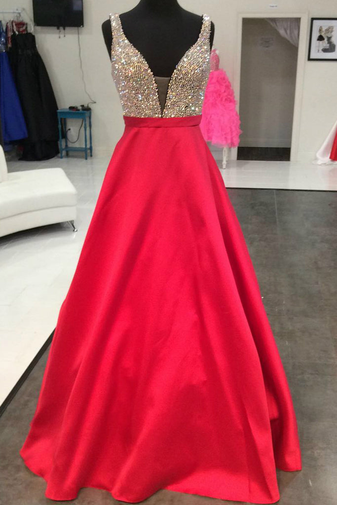 Red satins A-line sequins V-neck long prom dresses,evening dresses for teens with straps - occasion dresses by Sweetheartgirls
