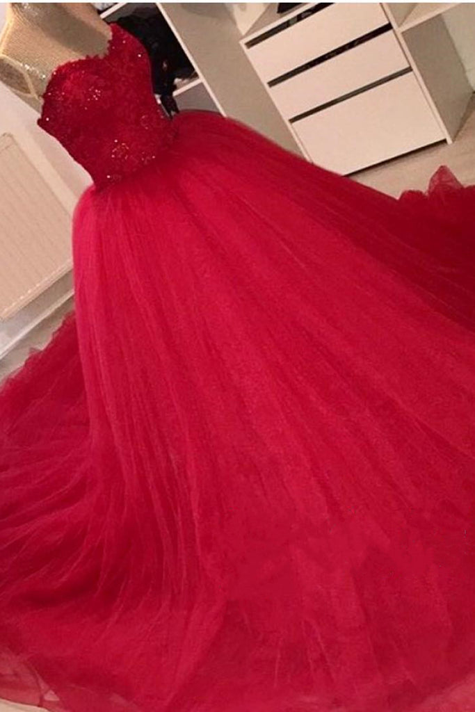 Sweet 16 Dresses | Red organza sweetheart sequins princess A-line long dresses,ball gown dresses