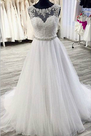 Sweet 16 Dresses | White organza lace see-through A-line long ball gown dress for teens,wedding dresses