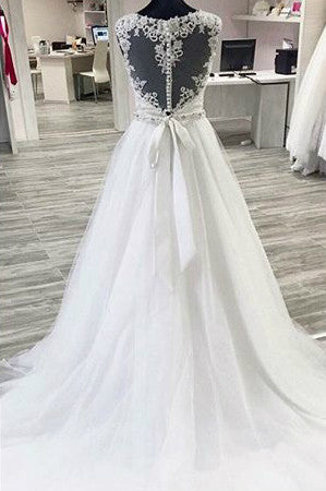 White organza lace see-through A-line long ball gown dress for teens,wedding dresses - occasion dresses by Sweetheartgirls