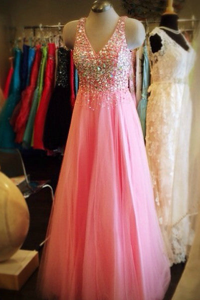 Sweet 16 Dresses | Princess pink chiffon V-neck beading sequins A-line long evening dresses,gradustion dress for teens