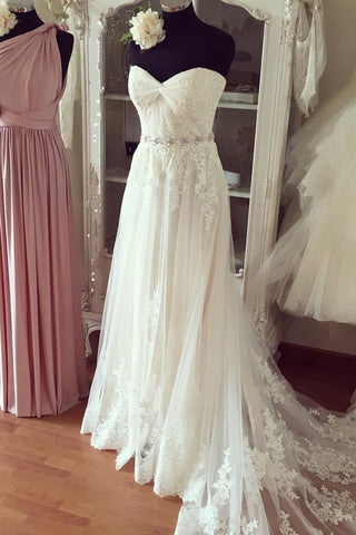 Sweet 16 Dresses | Pure white chiffon lace organza sweetheart beading long train prom dresses,wedding dresses