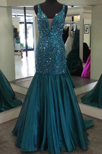 2018 evening gowns - Green tulle sequins beading V-neck mermaid long prom dresses,evening dresses