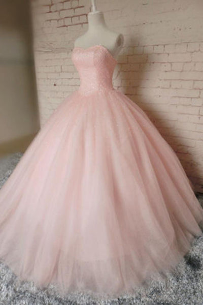 Sweet 16 Dresses | Pink organza sweetheart A-line long prom dresses,ball gown dress