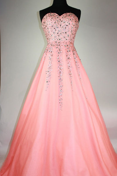Sweet 16 Dresses | Peach Organza sweetheart beading A-line long prom dresses for teens ,evening dresses