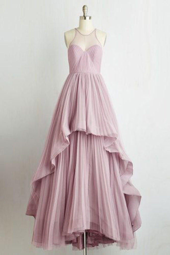Lavander chiffon see-through A-line long prom dresses,simple evening dresses for teens - occasion dresses by Sweetheartgirls